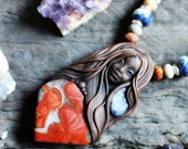 Medicine Woman Necklace with Spotted Jasper and Sodalite Gemstones... Clay with Healing Gemstone and Crystal Jewelry.