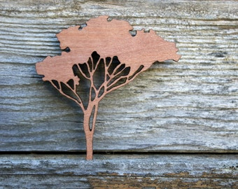 Wooden Tree Brooch, Gum Tree Brooch, Eucalyptus Brooch, Made in Australia