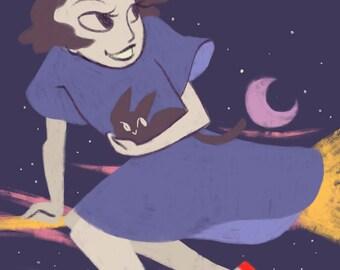 Kiki and Jiji, A5 Print, Studio Ghibli, Kiki's Delivery Service, Witch, Cat, Magic, Broom, Anime