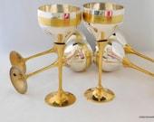 Goblets, Silver and Gold Goblets, Drinking Glasses, Barware, Brass Goblets, Goblet Set, 6 Goblets