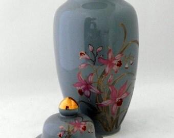 Vase, Ginger Jar, Urn, Gray/Blue with Pink Flowers, Japan