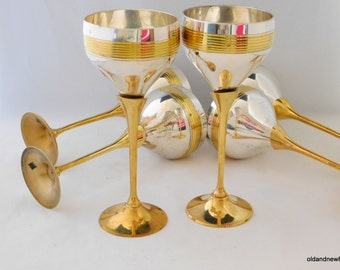 Goblets, Silver and Gold Goblets, Drinking Glasses, Barware, Brass Goblets, Goblet Set, 6 Goblets
