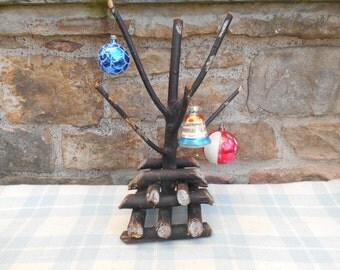 Antique Folk Art Twig Tree Handmade Wood Branch Christmas Centerpiece Ornament Tree Holder Photo Prop