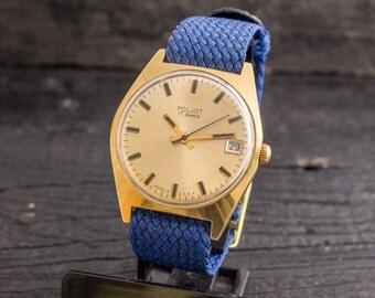 Vintage Poljot mens watch with date window, gold plated vintage russian wrist watch, vintage mens watch, soviet mechanical watch, ussr cccp