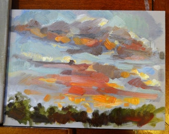 "6"" x 8"" original oil sunset painting landscape"