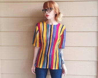 Primary Crayola Striped Sheer Chiffon Textured 90's Vintage Top Blouse // Women's size Small S Medium M