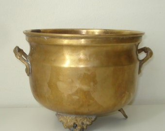 Vintage Brass Planter Bowl  - Medium Rounded  -  Retro Home Decor