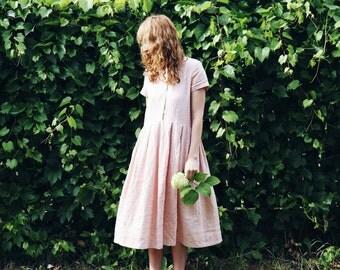 Linen Dress - Rose Linen Dress - Short Sleeved Linen Dress - Handmade by OFFON