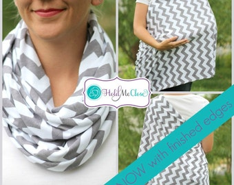 SALE Nursing Scarf / Hold Me Close Nursing Scarf / SALE / Gray Chevron Finished Edge, Nursing Cover, Infinity Scarf,