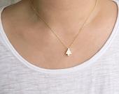 Tiny Pine Tree Charm Necklace, Gold / Silver, Pyramid Shape Tree, Nature Inspired Jewelry,  ej