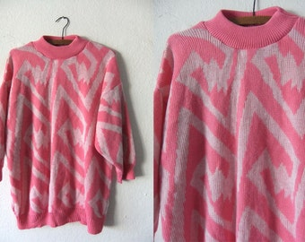 Cotton Candy Pink Mock Neck Tunic Sweater - Lightning Bolts Abstract Zig Zag Slouchy fit Baggy Jumper - Womens Large