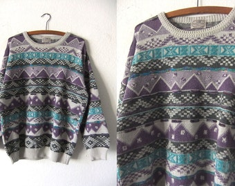 Zig Zag Coogi Style Sweater - Tribal Pattern 90s Fresh Prince Hip Hop Style Baggy Slouchy fit Jumper - Mens Large
