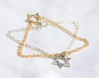 David star bracelet / Star of david bracelet / jewish jewelry bracelet / jewish star bracelet / sideways bracelet  / Unique gifts for women