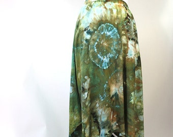Asymmetrical  Rayon Skirt, Tie Dyed, Ice Dyed, Greens, Agate Design, Made To Order