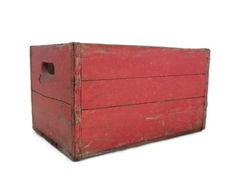 Red Wooden Crate Industrial Storage Box Old Chippy Paint Wood