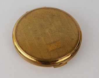 Vintage Used Powder Compact Gold Tone with Internal Mirror Very Bashed on the Outside