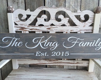 CUSTOM -CRACKLED- Family Sign (5.5in x 24in) - Home Decor - Perfect Gift