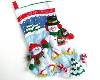 Christmas Stocking Finished Bucilla Stocking Personalized Stocking Family Stocking Kids Stocking Children's Stocking Snowman Stocking Gift