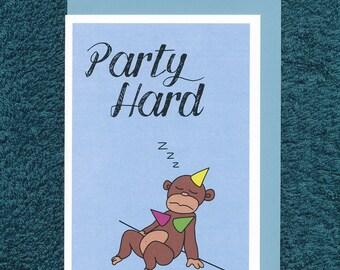 Party Hard Monkey Birthday Card Cute Hat