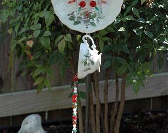 Cherry Blossoms Cup & Saucer Hand Strung Wind Chime Suncatcher for Outdoor Garden Decor