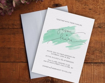 Wedding Invitation, Watercolor Wedding Invitation Set, Printable Wedding Invitation