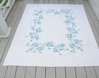 Vintage Tablecloth Blue Dogwoods