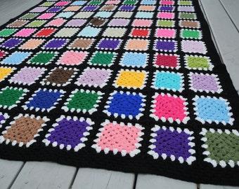 Vintage Squares Crocheted Afghan Black Bright Colors