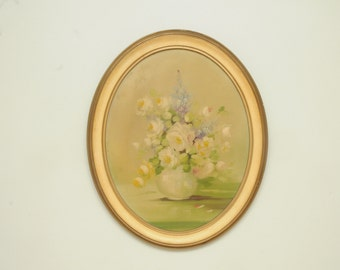 Oval Roses Painting in Gold Frame