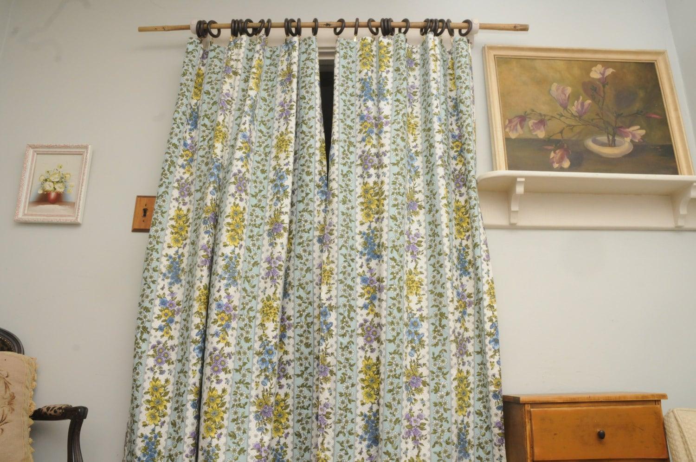 Vintage Curtain Panels Pair Blue Purple Yellow