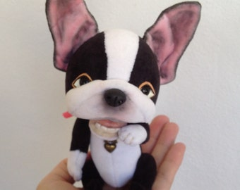 TO ORDER Boston_Terrier Vincent, Collectible Artist Teddy Bear, teddy dog, plush dog, OOAK teddy