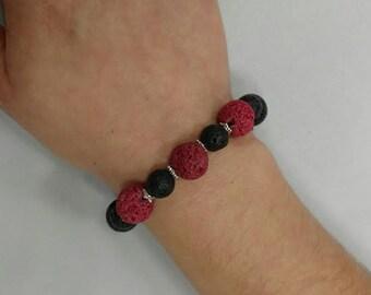 Red and Black Lava Bracelet // Aromatherapy Essential Oil Bracelet