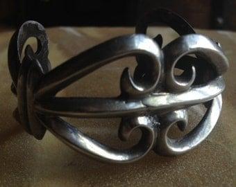 Sale - Vintage Handmade Sterling Silver Native American Sand Cast Cuff Bracelet