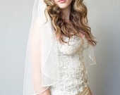 Single Tier Ivory Boho Chic Point D'esprit Juliet Floral Embroidered Bridal Veil Wedding Accessory