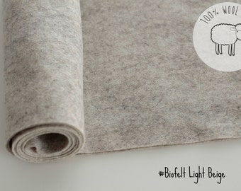 """Pure wool felt in light beige, biofelt, 20cm x 91cm - 1 - 1.2mm - 1 yard long by 9""""  natural colour, Ships from Ireland"""
