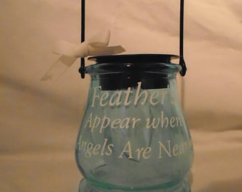 Feathers Solar Memorial Lantern Light