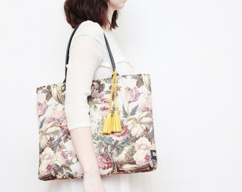 Sale / 25% off EMMA / Simple tapestry fabric tote with leather tassels / market tote bag - Ready to Ship