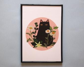 A4 Black Cat with Foliage Print - Black Cat illustration - Cat Print - I like Cats - Black cat - Cat illustration - Cat art - Wall art - art