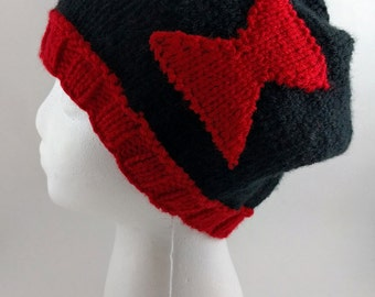 Black Widow Knit Slouchy Beanie - MADE TO ORDER