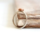 Copper Nugget Sterling Silver Stacking Ring Minimalist Mixed Metal Jewelry Thin Hammered Pebble Band Ring