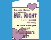 Mr. Right Valentine's Day Digital Download Greeting Card