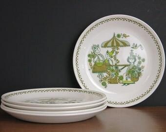 "Vintage Figgjo Flint Market Salad Plates - Turi Gramstad Oliver Scandinavian Design Figgjo Norway Market Side Plates - Five 8"" Salad Plates"