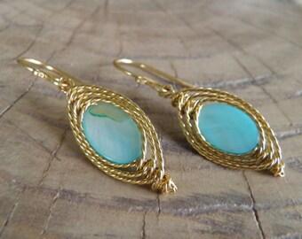 "Earrings... ""Ocean Sunset"" beautiful Shell hand wire wrapped in brass."