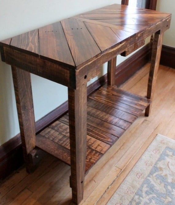 Wood pallet table sofa table console pallet furniture for Sofa table made from pallets