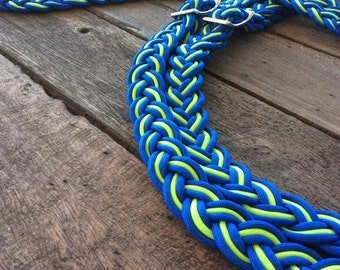 Handmade Reins - Lime Green and Royal Blue