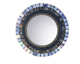 Blue and Gray Wall Mirror, Mosaic Mirror, Round Mirror, Decorative Mirror