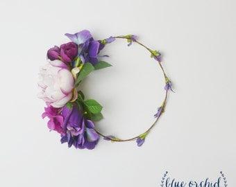 Flower Crown, Artificial Flower Crown, Purple Flower Crown, Large Flower Crown, Statement Flower Crown, Peony Flower Crown, Fuchsia, Purple