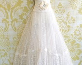 white lace mesh tulle ruffled boho wedding dress with short train by mermaid miss k