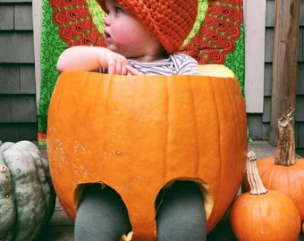 Crocheted Pumpkin Hat,  Children's pumpkin Hat, Halloween accessories, Warm hats, Winter Hats, kids winter hats