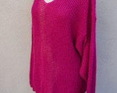 90's Bright Pink Sweater, Sparkly Sweater, 90's Grunge, Knit Pullover, Loose Sweater, Vneck Pink Sweater, 90's Clothing, Sparkle