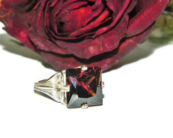 Rhodolite Garnet Ring, Sterling Silver, 14 Carats, Square Stone, Ring With Big Stone